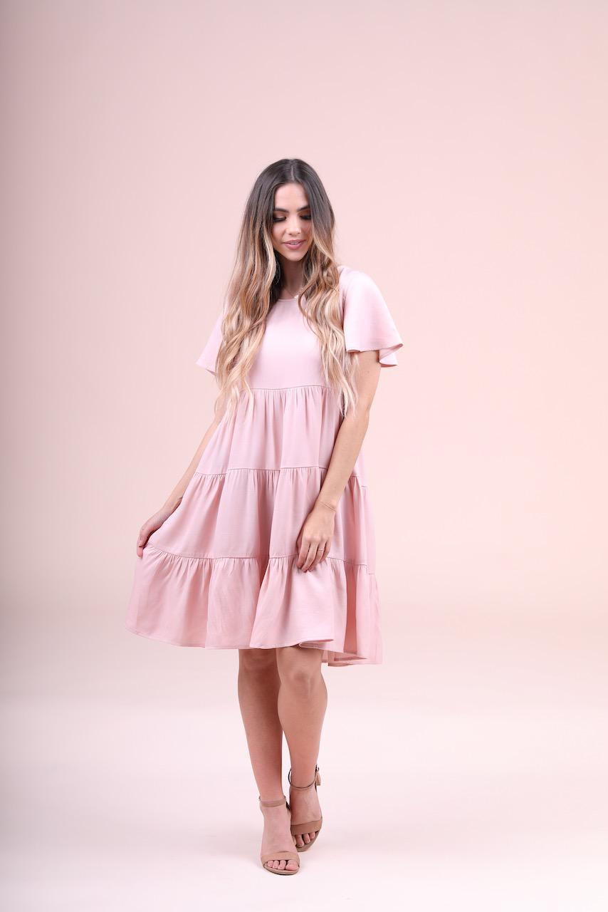Peyton Pink Tiered modest casual dress with flutter sleeves plus size cheap