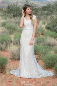 TR12028 lace Modest wedding dress with sleeves plus size brides A-Line modest bridal gown front view