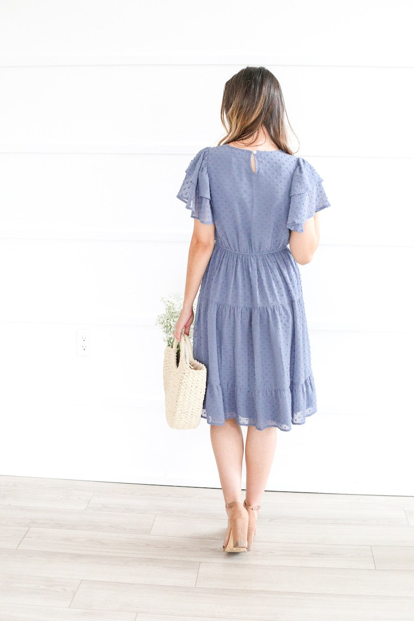 Amy cornflower blue modest casual bridesmaids dress swiss dot back