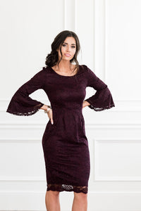 April Modest Bridesmaids Dress with Bell Sleeves Raisin from A Closet Full of Dresses