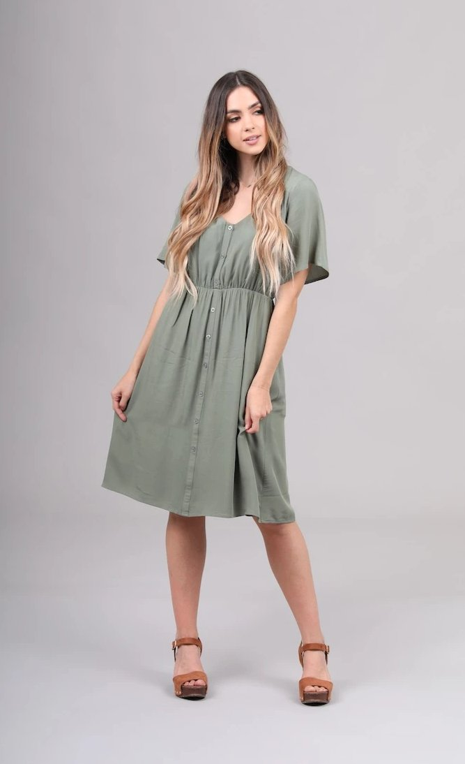 Aria modest casual dress for bridesmaids amazon green flowy skirt