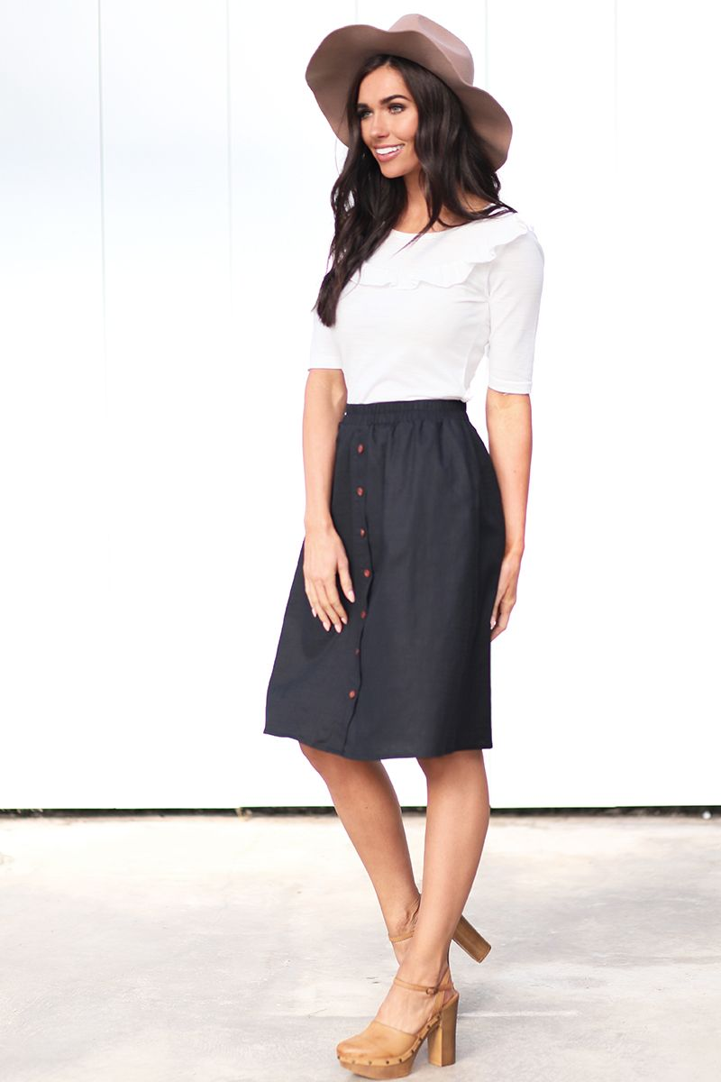 Mikarose Black Button Up Modest Skirt from A Closet Full of Dresses