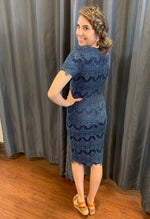 Brinley navy lace modest bridesmaids dress with sleeves back view