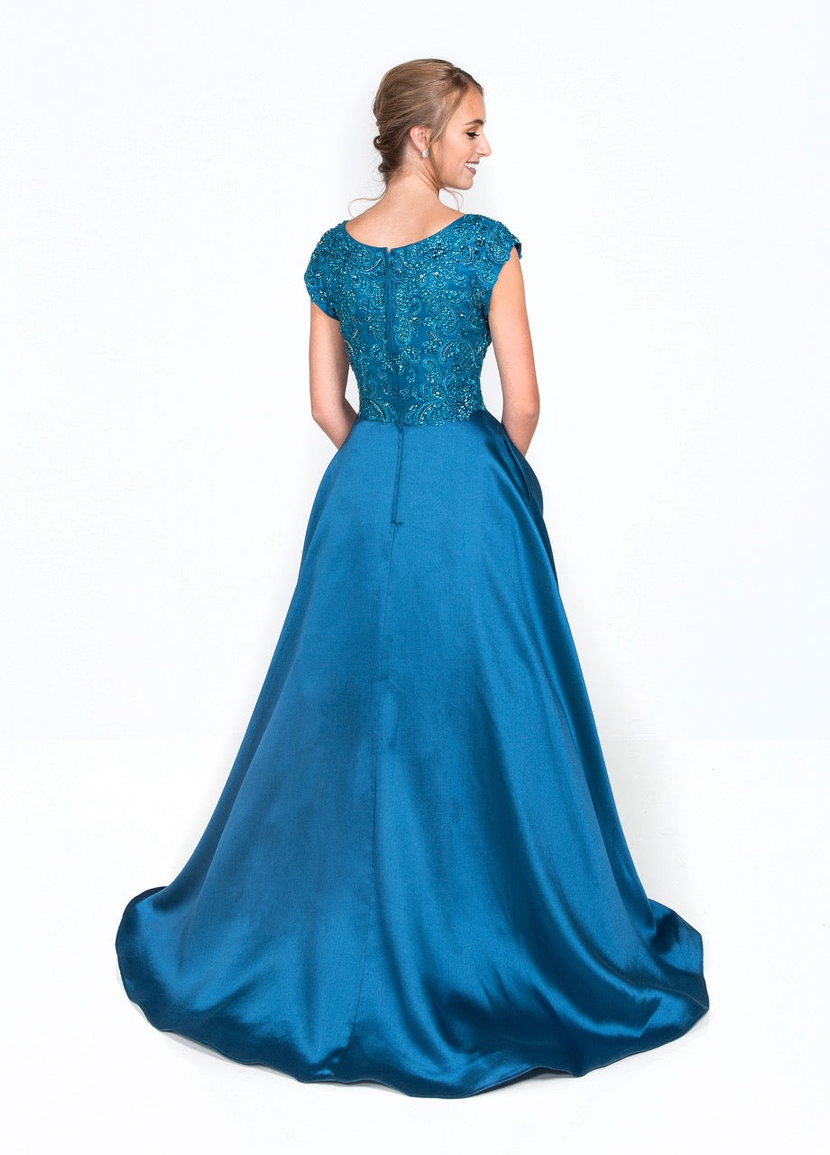 Colette CLM18334 Modest Prom Dresses with sleeves with pockets winter formal ball gown for plus size cheap back view