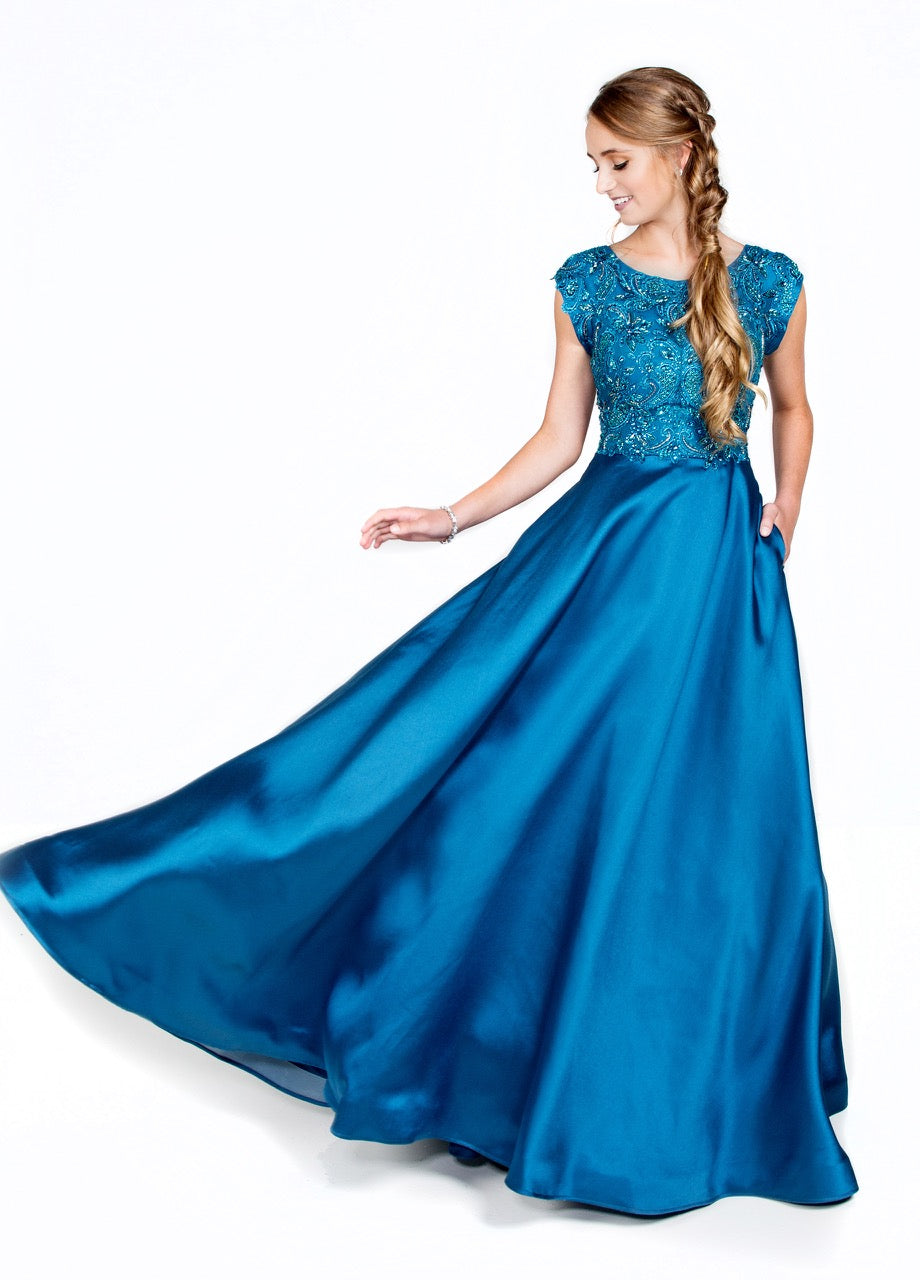 Mon Cheri CLM18334 Modest Prom Dress from A Closet Full of Dresses