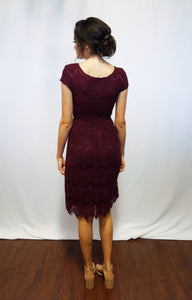 Taryn Burgundy Modest Bridesmaids Dress from A Closet Full of Dresses