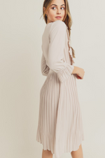 Eloise pleated modest casual dress with long sleeves knee length scoop neck for plus size back