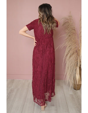 Kinsley Merlot Lace Modest Maxi Dress