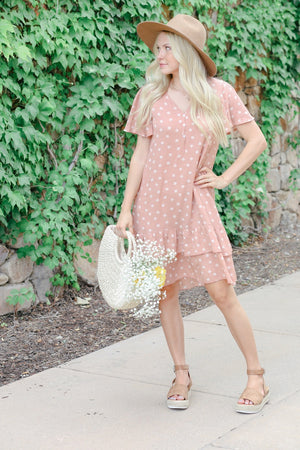 Georgia Modest Casual dress salmon pink polka dots with sleeves flowy comfortable