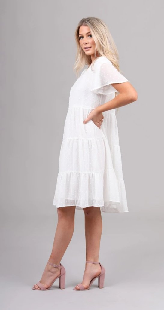 Hannah Ivory casual bridesmaids modest dress with sleeves flowy skirt