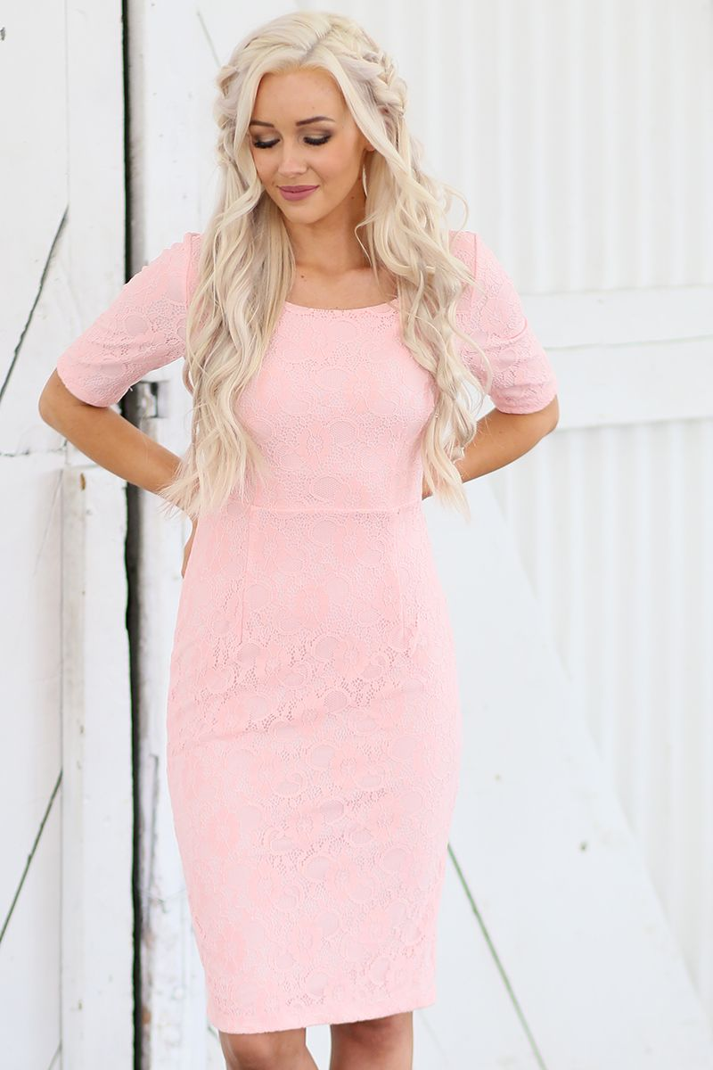 June Sweetheart Pink Modest Wedding Dress from A Closet Full of Dresses
