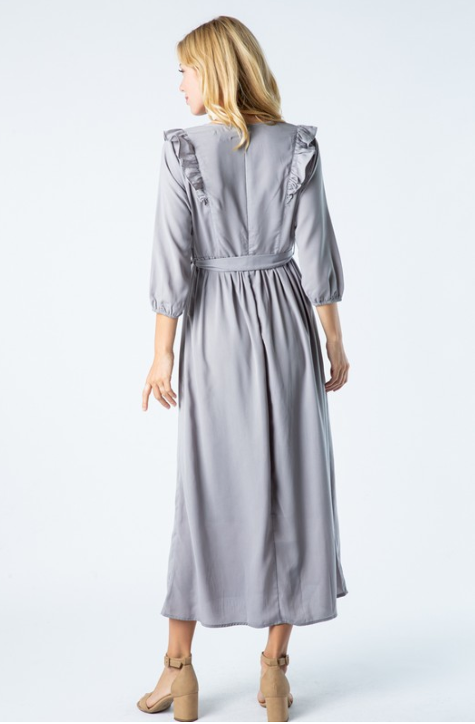 Kylie midi modest dress with long sleeves grey for plus size back