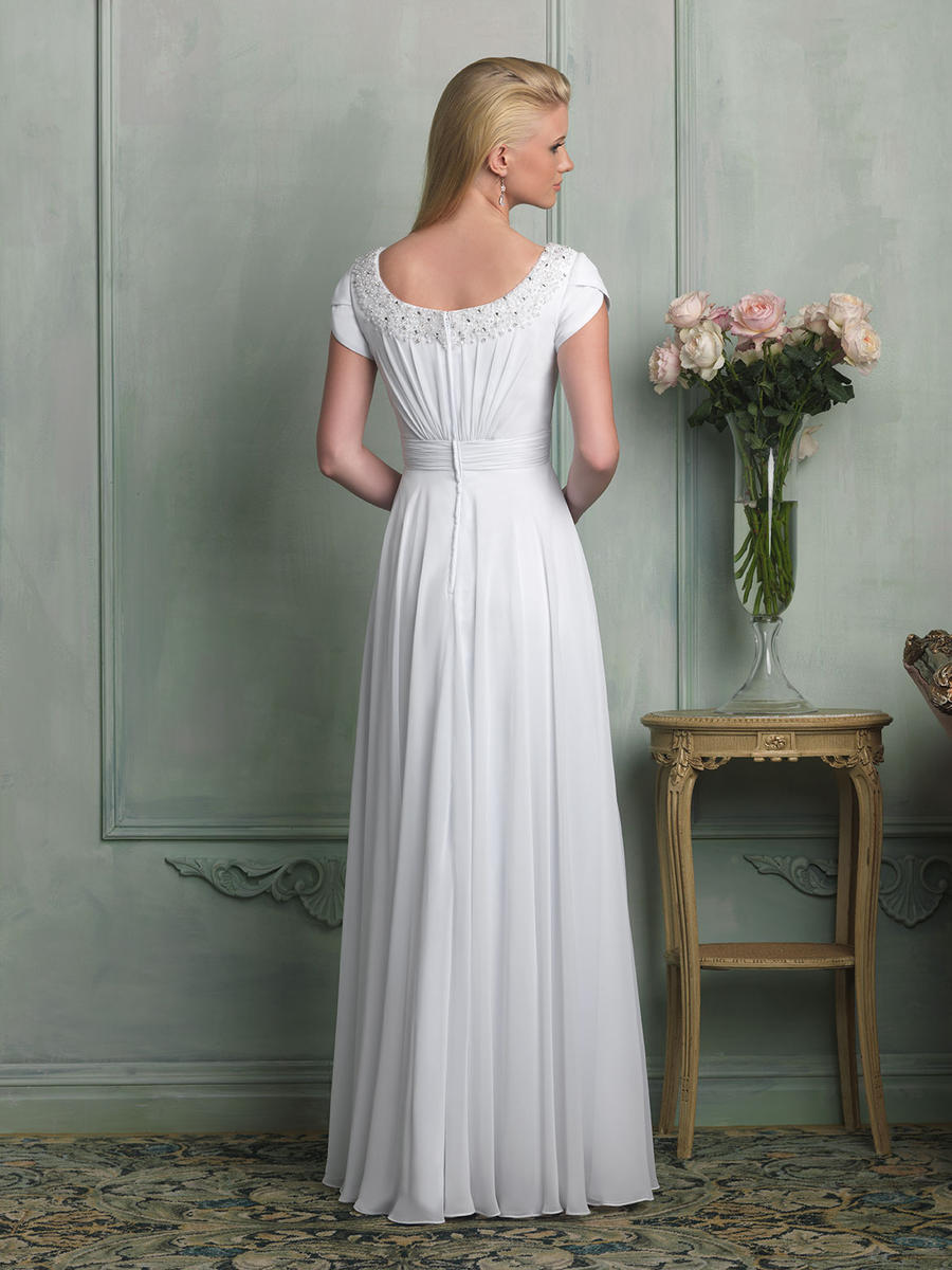 Allure M516 Modest Wedding Dress with sleeves simple bridal gown LDS cheap back