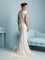 Allure Bridals M536 Modest Wedding Dresses with sleeves elegant lace fitted style LDS back