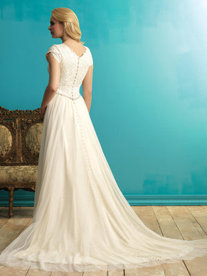 Allure M542 Modest Wedding Dress with sleeves lace flowy skirt conservative elegant LDS for plus size back