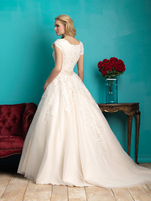 Allure Bridals M544 Modest Wedding Ballgown with sleeves elegant lace silver belt for plus size LDS back