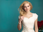 Allure Bridals M544 Modest Wedding Ballgown with sleeves elegant lace silver belt for plus size LDS close