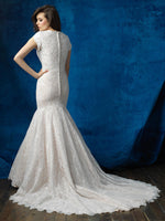 Allure M565 Modest Wedding Dress fit and flare with sleeves elegant lace LDS bridal gown back