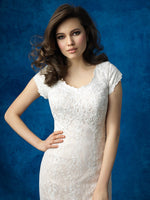 Allure M565 Modest Wedding Dress fit and flare with sleeves elegant lace LDS bridal gown close up