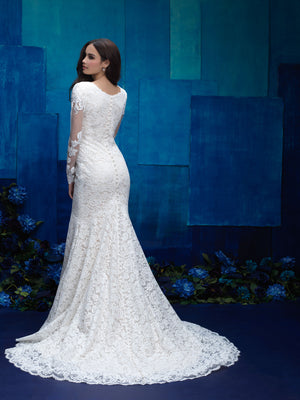M571 Modest wedding dress long lace sleeves fit and flare design stunning chapel train LDS temple wedding dress from back