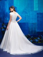 M572 modest wedding dress with sleeves ball gown back