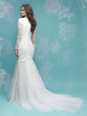 Allure M583 Modest Wedding Dress with long sleeves illusion lace fitted elegant LDS bridal gown back