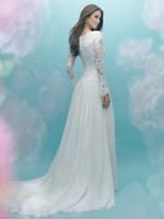 Allure M584 Modest Wedding Dresses with long sleeves flowy skirt elegant lace LDS bridal gown for plus size