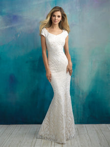 Allure M590 Modest Wedding Dresses with sleeves fitted skirt elegant lace LDS bridal gown for plus size