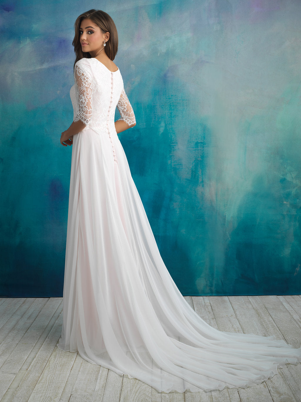Allure M591 Modest Wedding Dress with sleeves elbow length flowy skirt elegant illusion lace LDS for plus size back