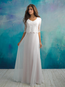 Allure M591 Modest Wedding Dress with sleeves elbow length flowy skirt elegant illusion lace LDS for plus size