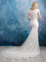 Allure M603 Modest Wedding Dress back view at A Closet Full of Dresses