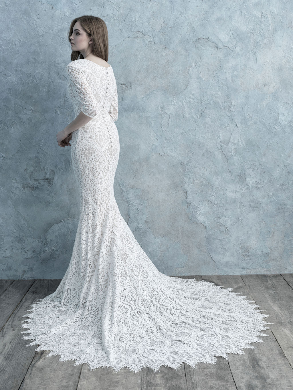 Allure Bridals M622 Modest Wedding Dresses for plus size with sleeves LDS cheap bridal gown back