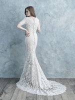 Allure M627 Modest Wedding Dresses for plus size cheap LDS bridal gowns 3/4 lace illusion sleeves back