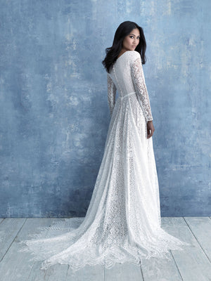 Allure M630 modest wedding dress with long sleeves cheap LDS bridal gown for plus size brides back