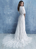 Allure M634 modest wedding dress with boho long sleeves conservative LDS bridal gown for plus size brides back