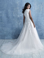 Allure M635 modest wedding dress ball gown with sleeves lace ballgown full tulle LDS bridal for plus size back