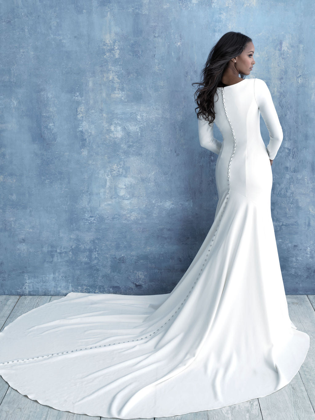 Allure M636 modest wedding dress with long sleeves all crepe chapel train LDS bridal gown for plus size brides back