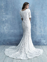 Allure M638 modest wedding dress with long sleeves lace sheath LDS bridal for plus size brides back