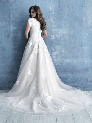 m639 modest wedding dress ballgown with sleeves LDS temple wedding