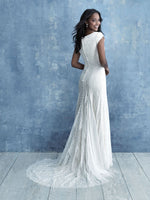Allure M641 modest wedding dress with sleeves low cost bridal LDS temple plus size brides