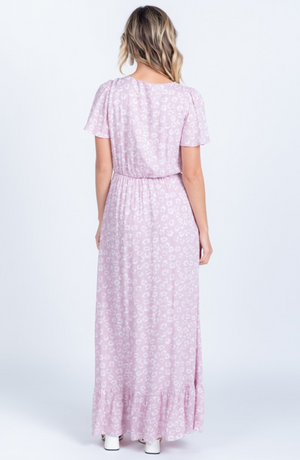 maddie mauve modest maxi dress swiss dot comfortable with sleeves back