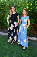 Linda Black Floral and Sky blue floral cute Modest Prom Dress with sleeves mormon prom cheap dress for plus size winter formal