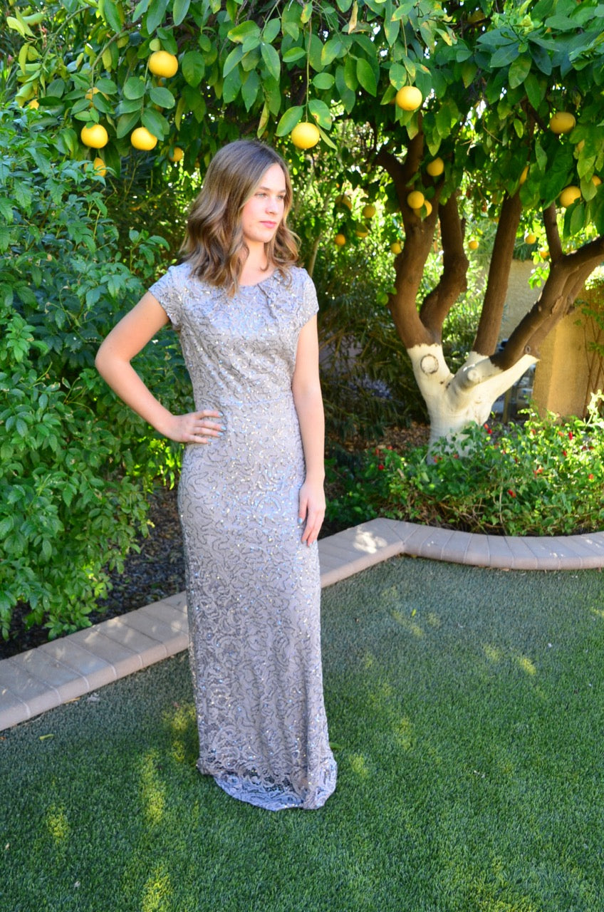 Ella Silver Modest Prom Dress with sleeves mormon prom cheap dress for plus size winter formal