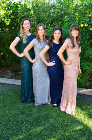 Ella Modest Prom Dresses with sleeves mormon prom cheap dress for plus size