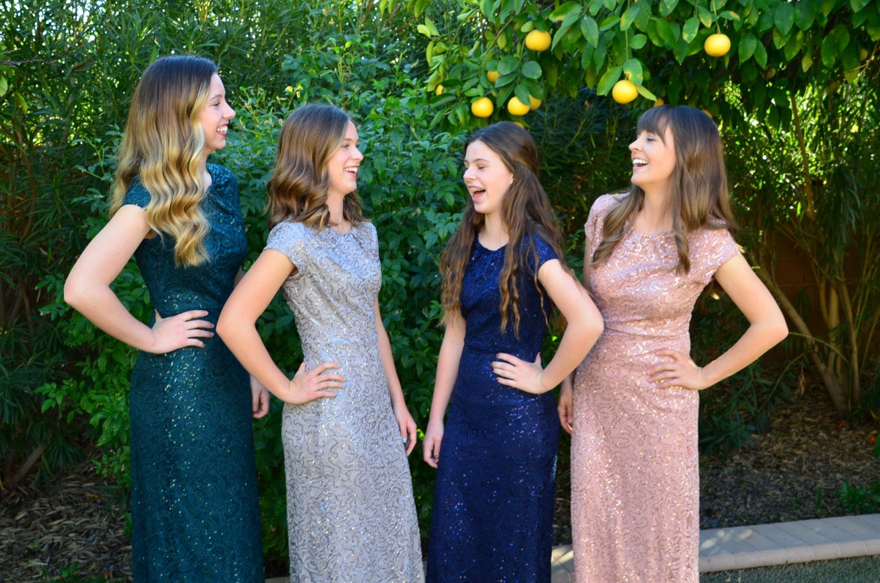 Ella Hunter Green Modest Prom Dresses with sleeves mormon prom cheap dress for plus size four girls