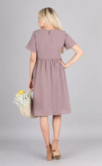 Kate modest casual dress with sleeves knee length lilac color back