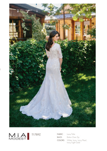 Mia Solano T1789 Modest Wedding Dress Back from A Closet Full of Dresses