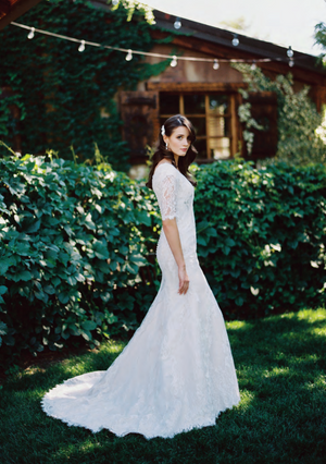 Mia Solano T1789 Modest Wedding Dress Side from A Closet Full of Dresses