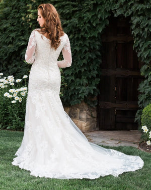T1986Z modest wedding dress with illusion lace sleeves fitted lace neckline temple bridal gown back