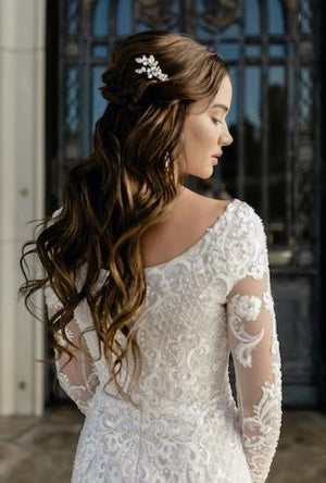 T2081Z Modest Wedding Dress back close from A Closet Full of Dresses Private Label
